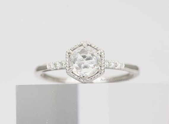 White Gold Hexagon Engagement Rings