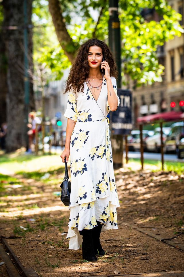 Style notes: You probably already have a few floral wrap dresses in your wardrobe from summer—wear them with black boots andlayer a turtleneck underneath for extra warmth.