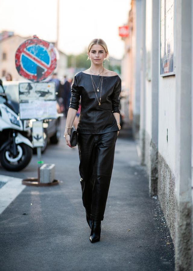 Style notes: All-black outfits aren't exactly hard to come by in winter, but the all-leather texture here is truly something special. Layer on the gold necklaces for a feminine touch.