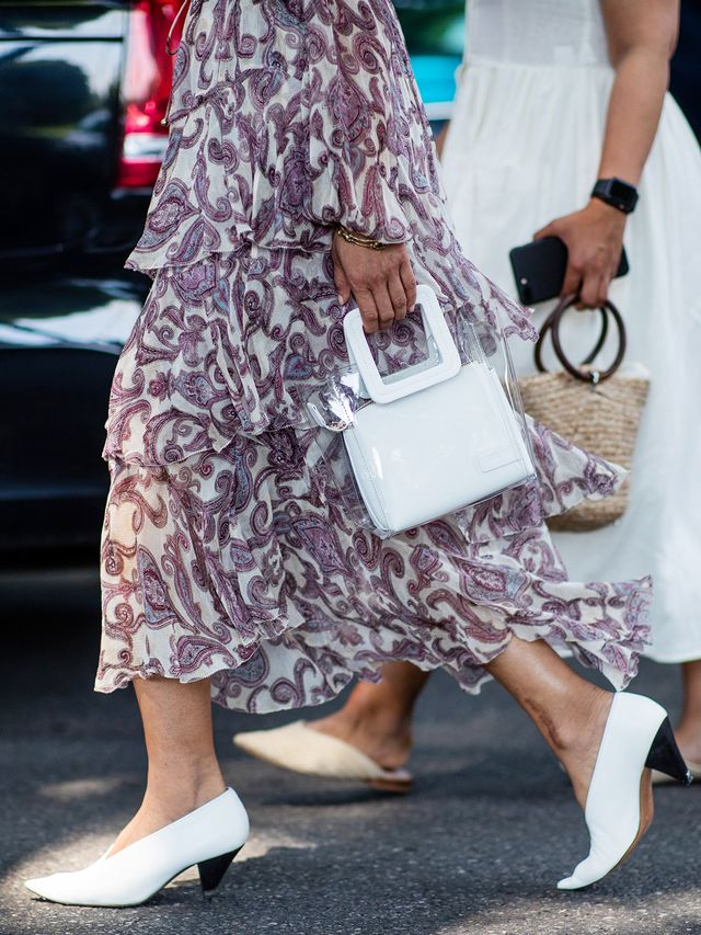 Style notes: White kitten heels and a clear bag willgive even your most boringwinter apparel an instant update.