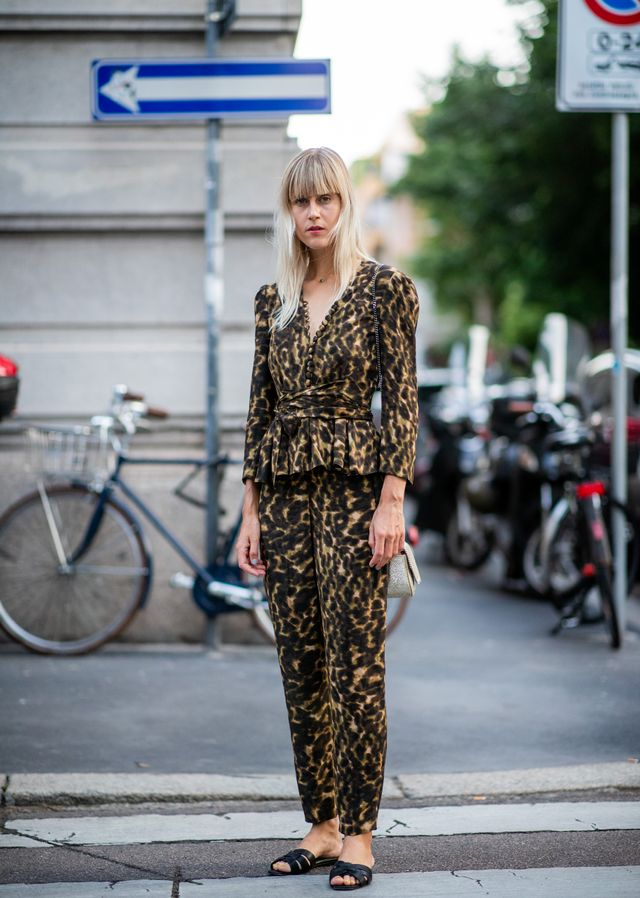 Style notes: Leopard print is basically a neutral now. We'd swap out the slides for black pointed flats to keep our toes from the chill.