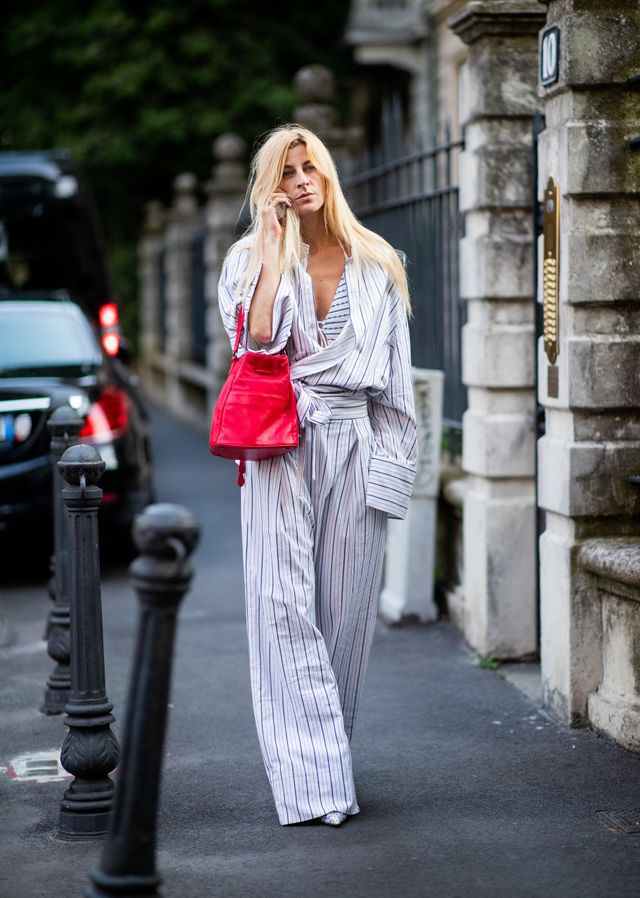 Style notes: It can be so hard to get out of bed in winter that we strongly encourage wearing your pyjamas outdoors. Elevate the look with a contrasting mini bag.