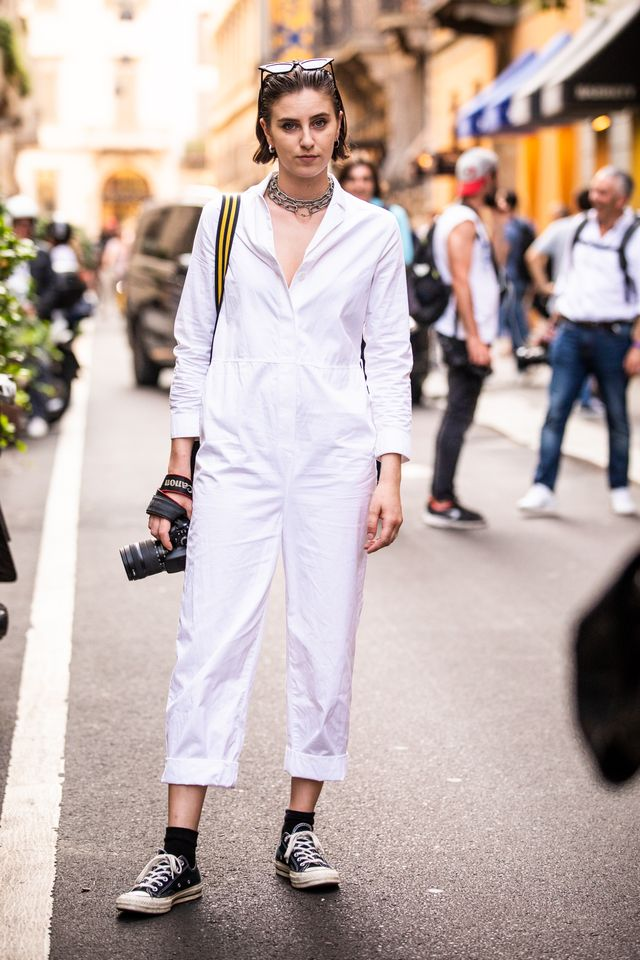 Style notes: Forget what you've been told—all-white is not just for summer. Pair this with a beige trench coat and you've got a toasty winter outfit.