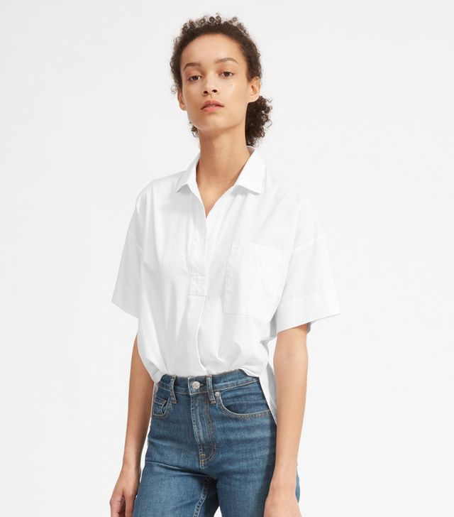 Women's Cotton Short-Sleeve Popover Shirt by Everlane in White, Size 12