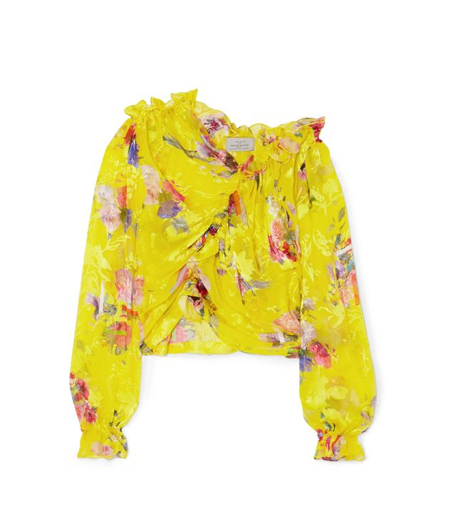 Shelly Ruched Devoré Silk-blend Chiffon Top