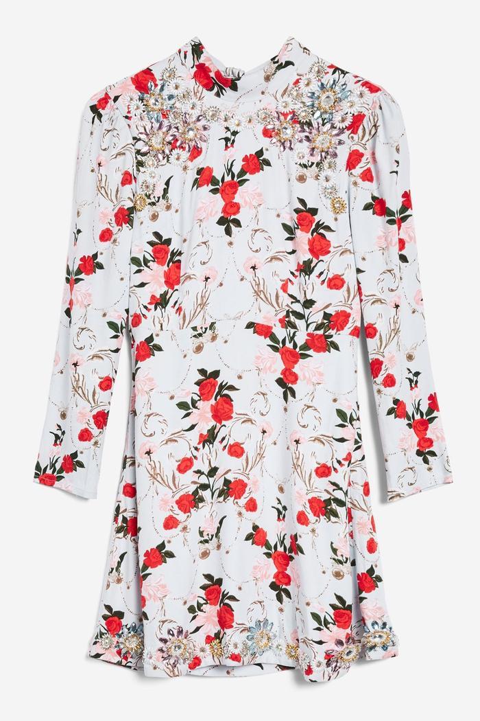 Topshop Rose-Print Dress
