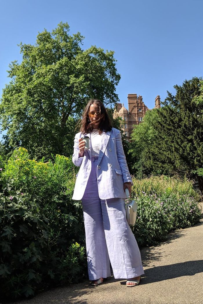 best affordable fashion brands: Hannah Almassi wearing Kitri lilac suit