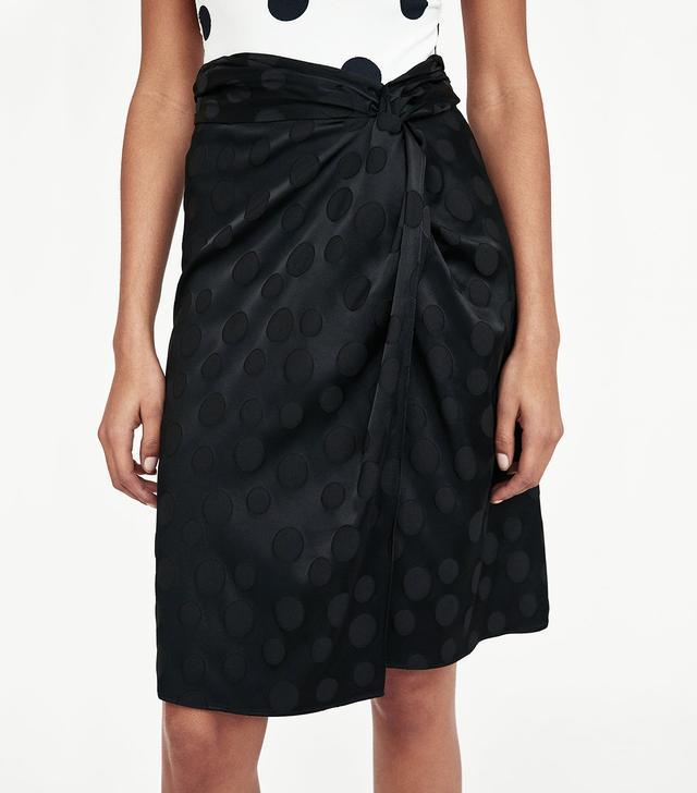 Zara Jacquard Polka Dot Skirt
