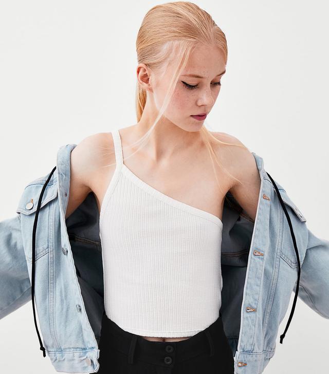 Zara Ribbed Off the Shoulder T-Shirt