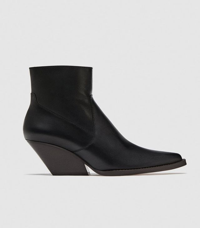 Zara Leather Cowboy Ankle Boots