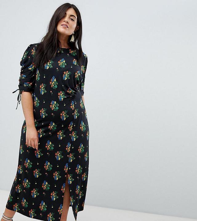 ASOS DESIGN Curve city maxi tea dress with split in black floral