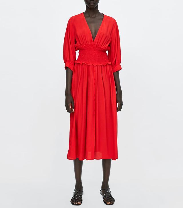 Zara Dress With Elastic Waistband