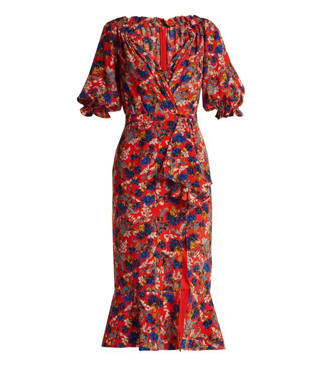 Olivia floral-print silk dress