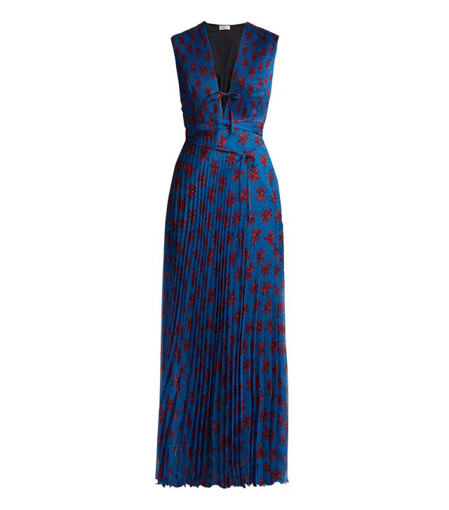 Mika floral-print pleated silk dress
