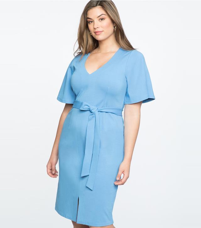 Eloquii Flare Sleeve Tie Waist Dress