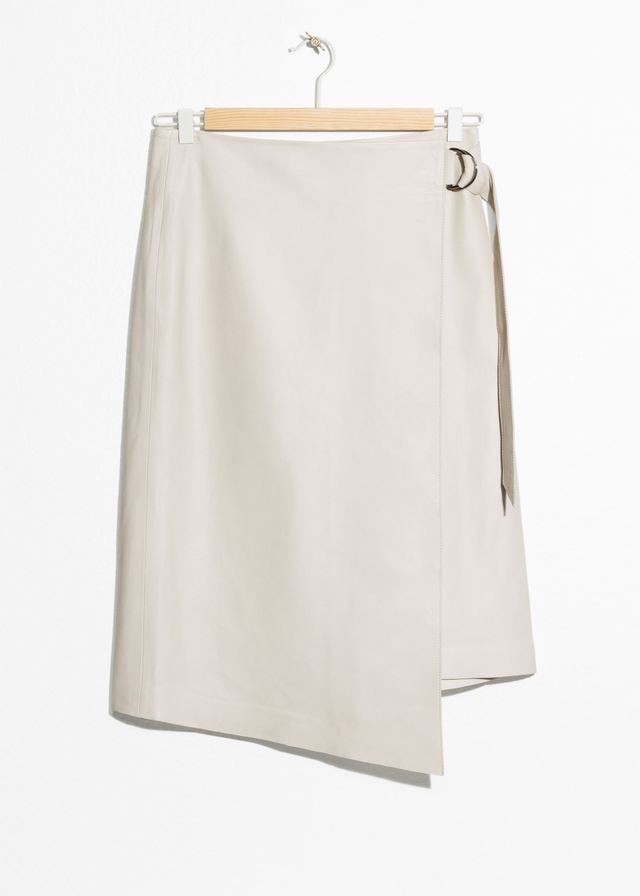 & Other Stories Leather Belted Wrap Skirt