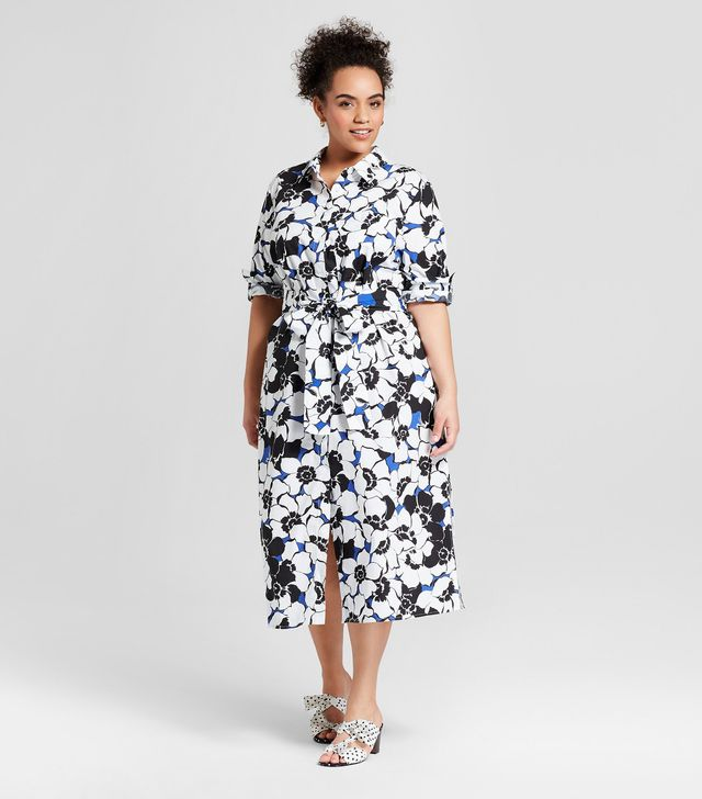 Who What Wear Collection Long Sleeve Midi Shirt Dress