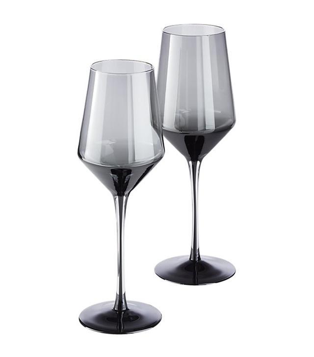 CB2 Ghost Smoke Grey Wine Glasses