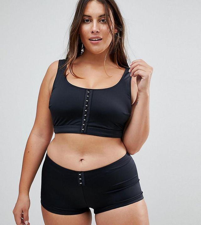 ASOS CURVE Mix and Match Crop Bikini Top with Hook and Eye