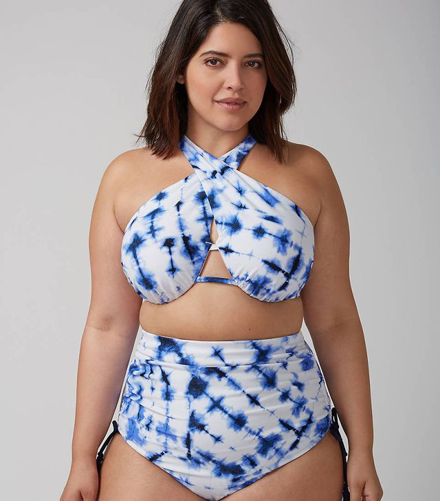 Lane Bryant Cross-Front Bikini Top With Built-In Bandeau Bra