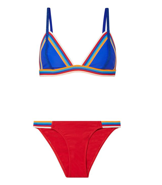 Slick Striped Triangle Bikini