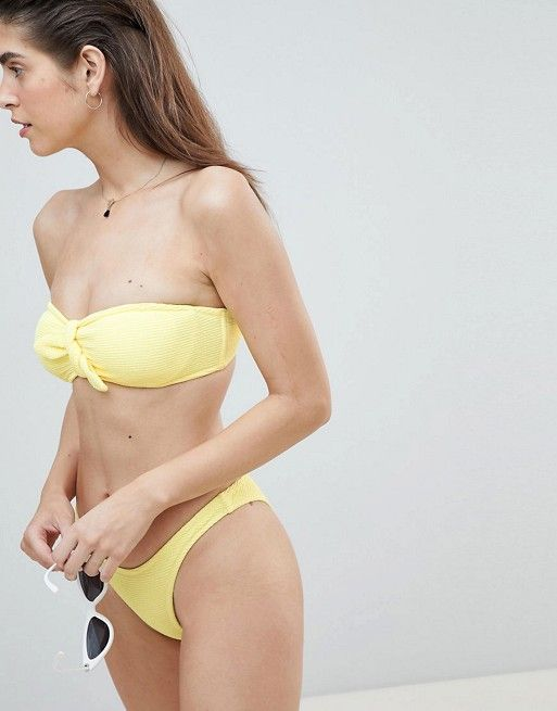 River Island Textured Knot Front Underwire Bandeau Bikini