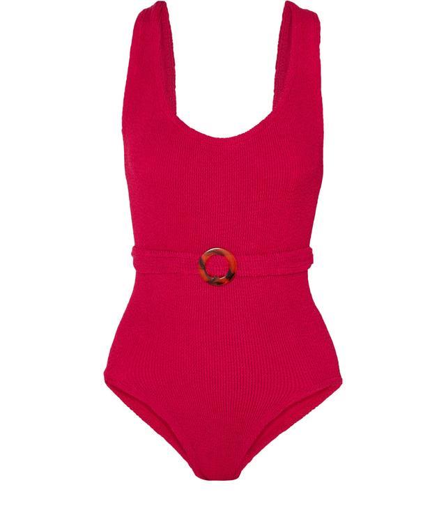 Solitaire Embellished Seersucker Swimsuit