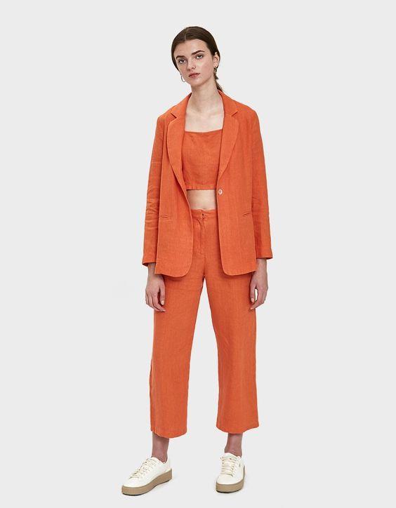 Orange Linen Summer Blazers for Women