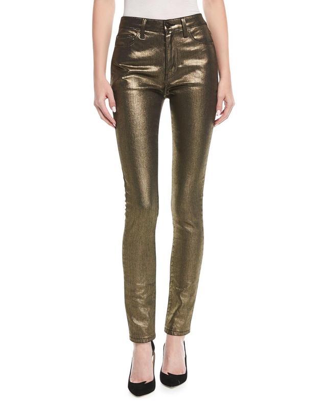 High-Rise Skinny-Leg Metallic Jeans