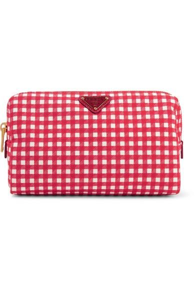 Large Leather-trimmed Gingham Canvas Cosmetics Case