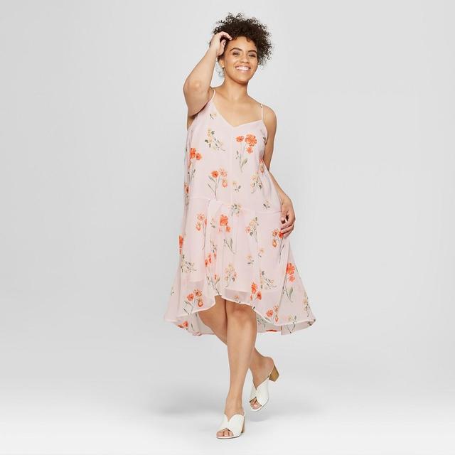 Plus Size Floral Print Flutter Slip Dress