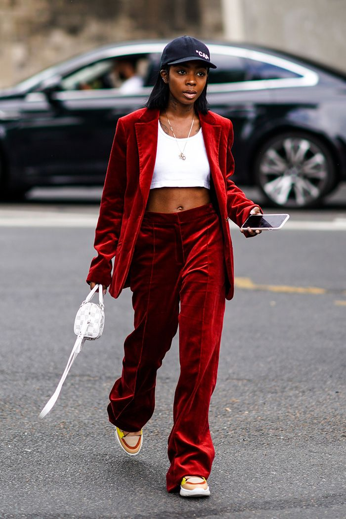 Haute Couture Fashion Week street style July 2018: showgoer wears velvet suit and crop top
