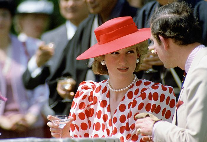 Princess Diana wearing red polka dots in Japan