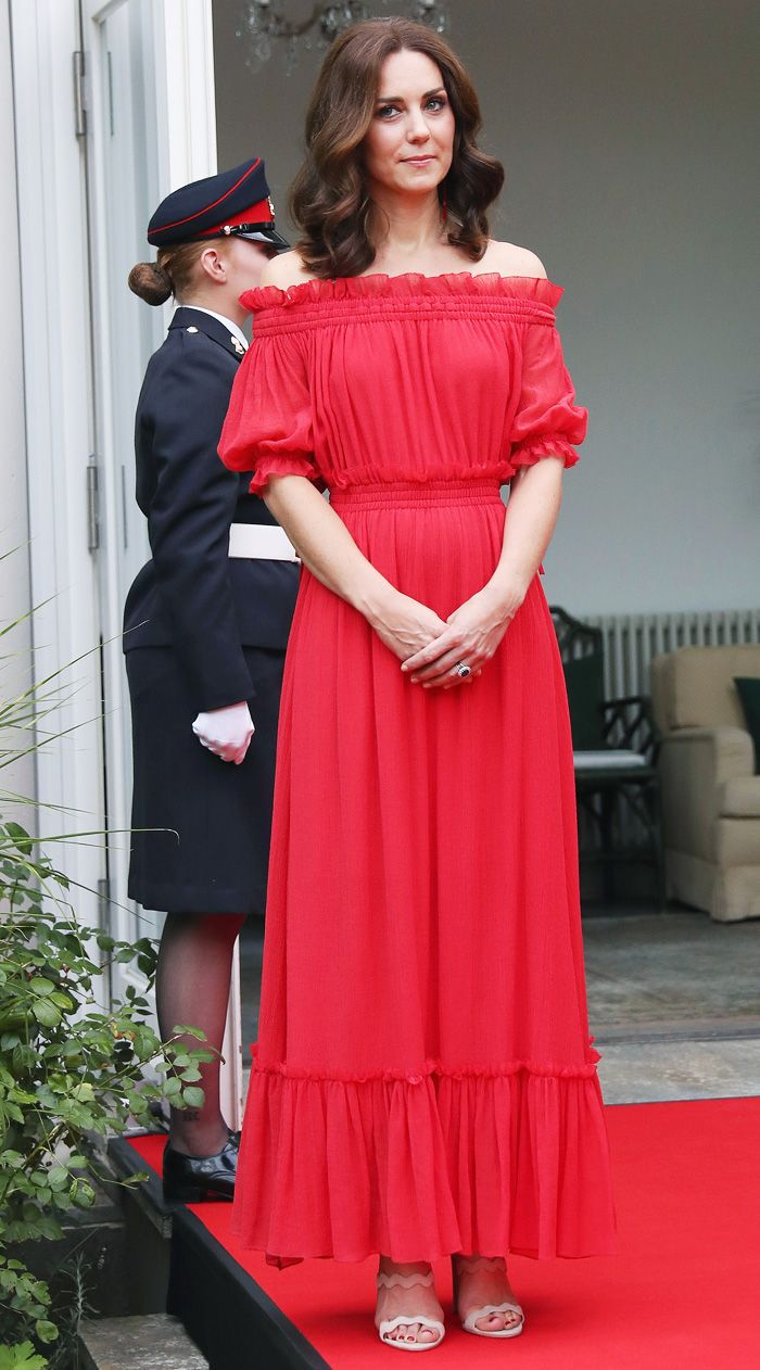 Kate Middleton style: The Duchess of Cambridge wearing an off-the-shoulder red Alexander McQueen dress