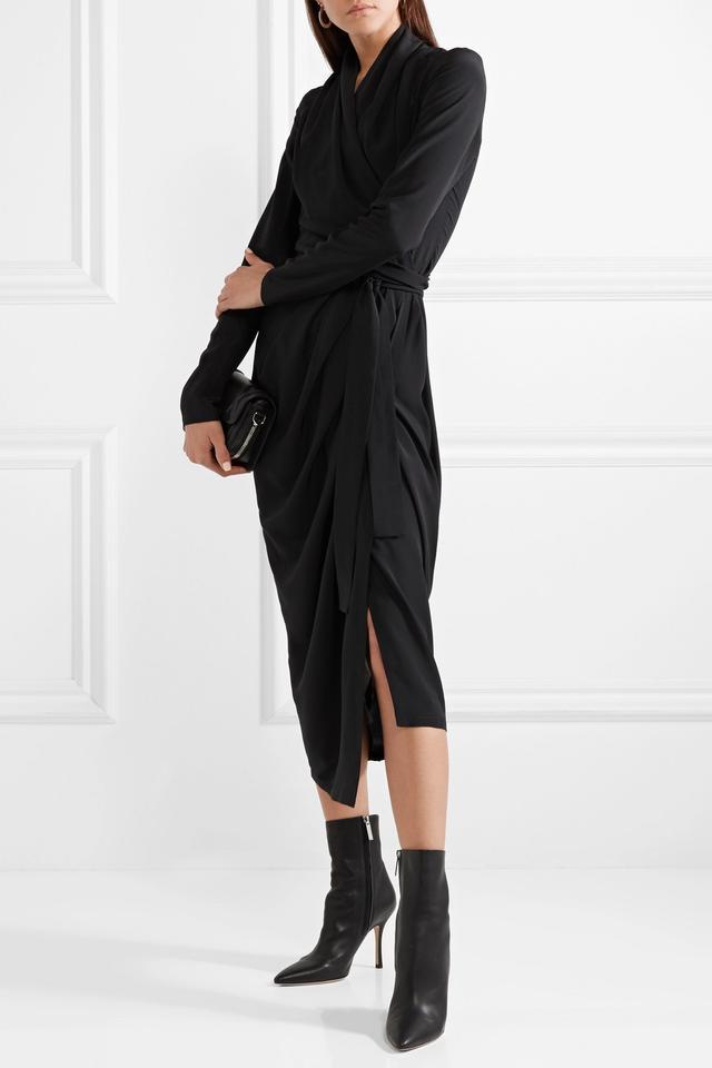 Draped Silk Crepe De Chine Wrap Dress