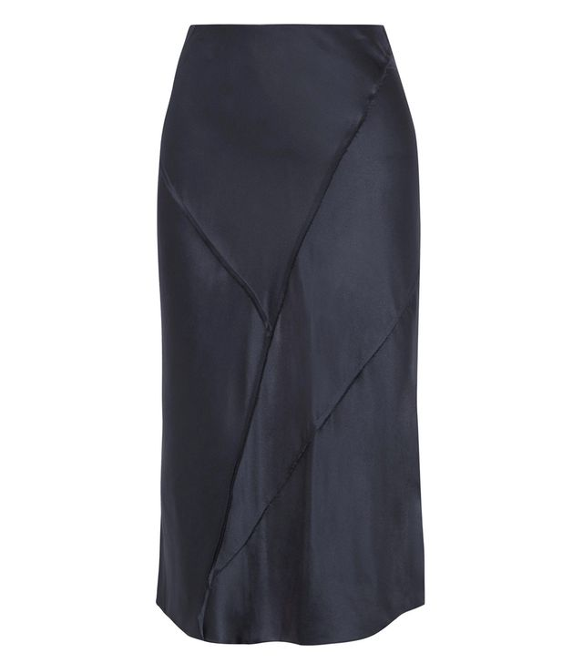 Paneled Silk-satin Midi Skirt