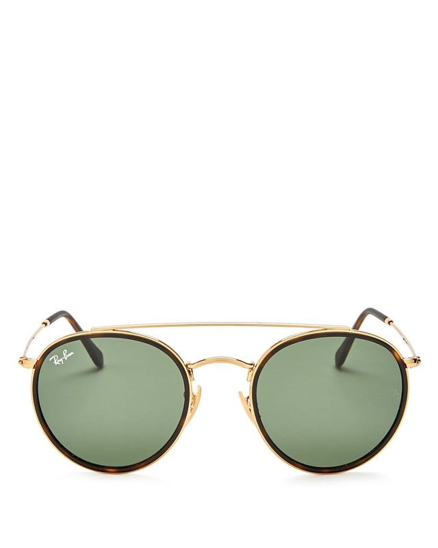 Ray-Ban Brow Bar Round Sunglasses, 50mm