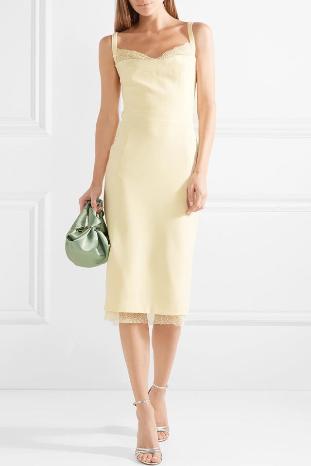 Demoiselles Lace-trimmed Crepe Midi Dress