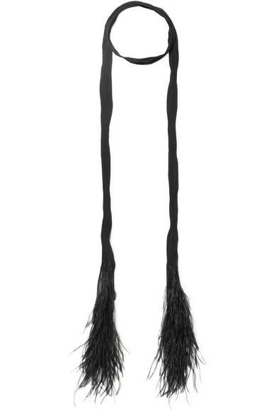 Feather-trimmed Plissé Silk-chiffon Scarf