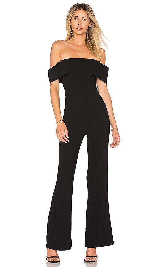 Aubrey Off Shoulder Jumpsuit in Black. - size M (also in XS)