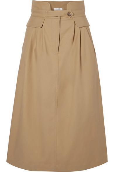 Kamille Stretch-cotton Twill Midi Skirt