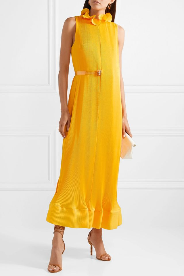 Ruffled Plissé-satin Midi Dress