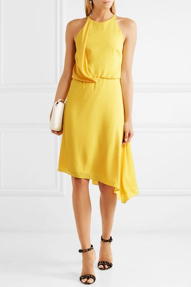 Asymmetric Draped Crepe Dress
