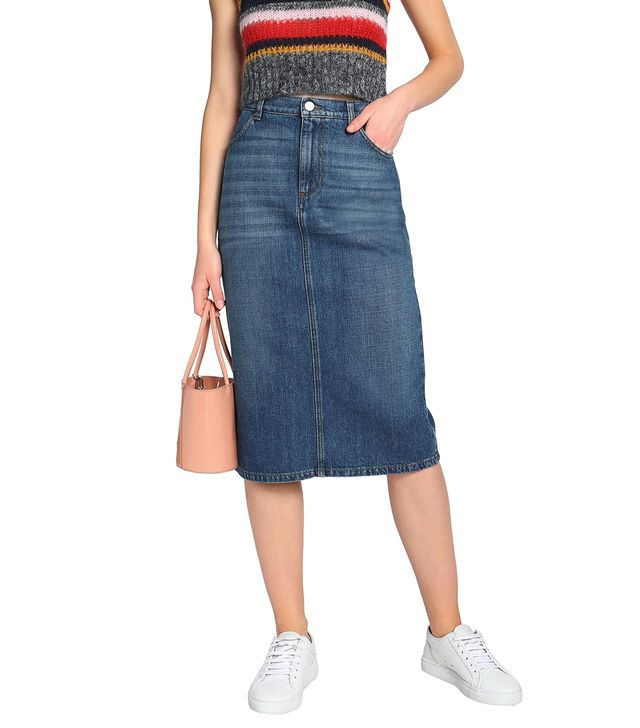 AlexaChung Faded Denim Skirt