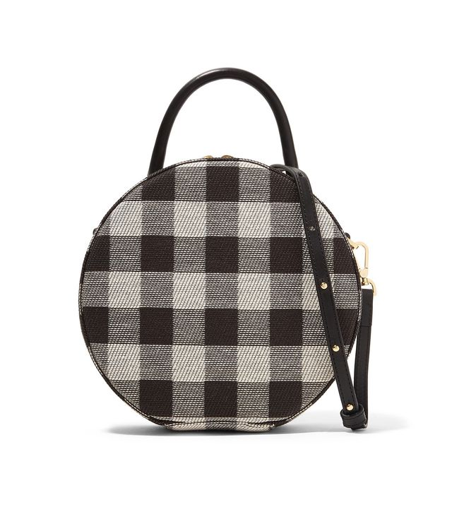 Circle Leather-trimmed Checked Cotton-canvas Shoulder Bag