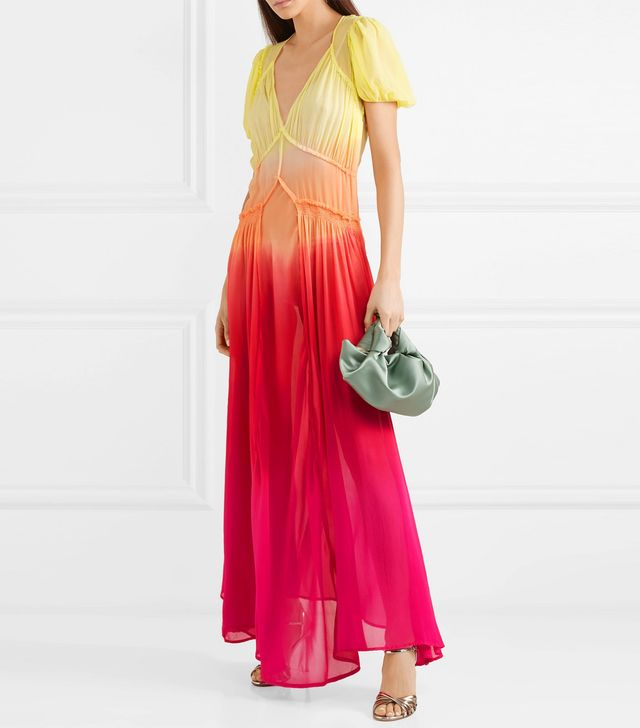 Shirred Ombré Silk-georgette Maxi Dress