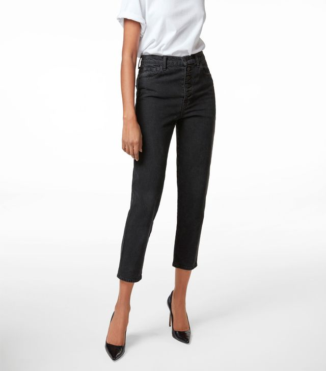 J Brand High-Rise Heather Button-Fly Jean in Overthrow