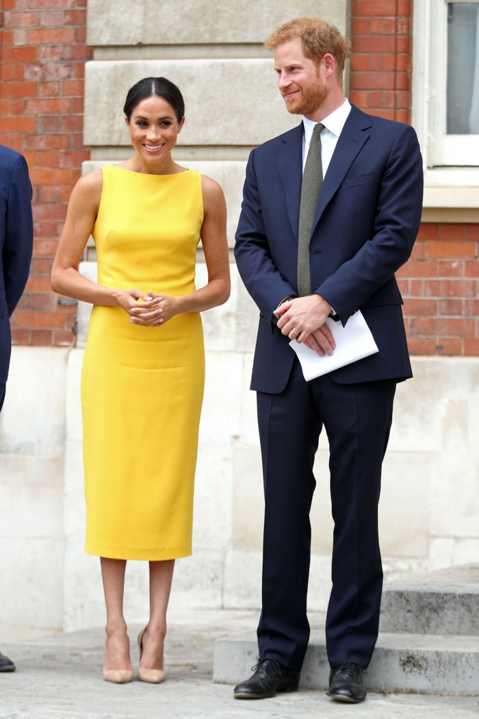 Meghan Markle in Brandon Maxwell Yellow Dress