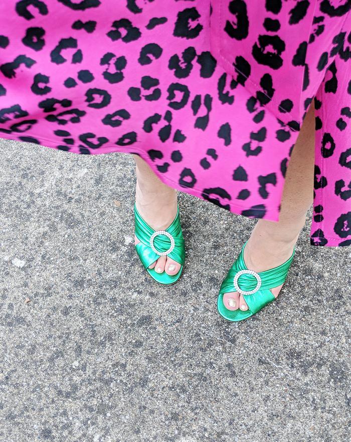 Shoes for women: Kalda green metallic mules