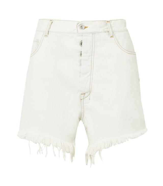 Oversized Frayed Denim Shorts